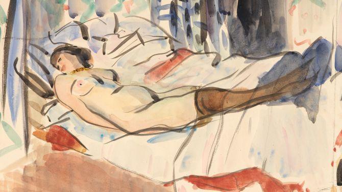 Tekening van Rik Wouters, liggend naakt