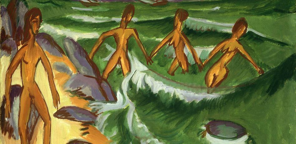 Abeelding van een schilderij van Ernst Ludwig Kirchner, Badende mensen (Fehmarn), 1913, olieverf op doek