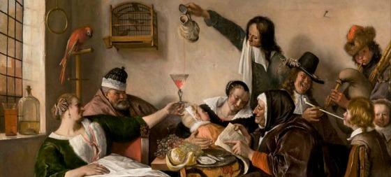Jan Steen, detail uit het schilderij, Zo voorgezongen zo nagepepen