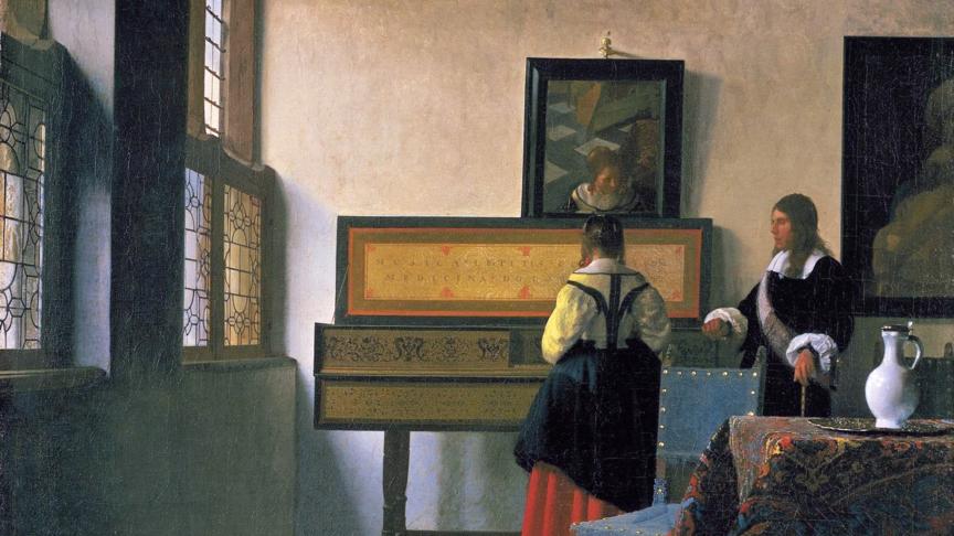 Johannes Vermeer, De muziekles, Dit schilderij is afkomstig uit de Royal Collectie, van H.M. The Queen of England. Het schilderij is nu te zien in Den Haag in het Mauritshuis en wordt in de rondleidingen van Artetcetera uitgebreid besproken.