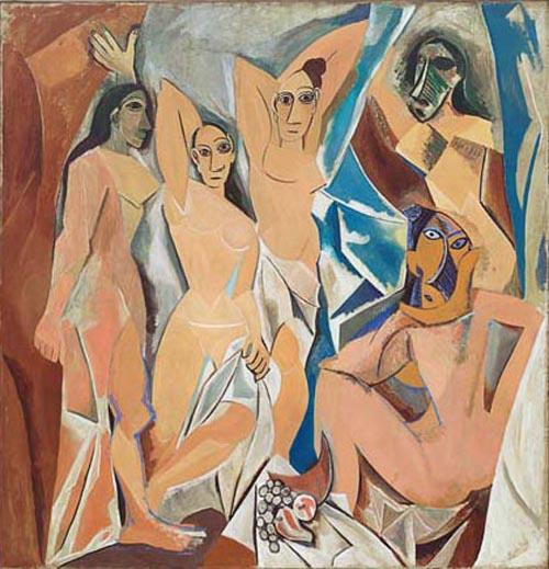 Pablo Picasso, Les demoiselles d'Avignon, olieverf op doek, New York, Metropolitain Museum of Art. Dit schilderij is een sleutelstuk in de moderne kunst en zal in de cursus uitgebreid ter sprake komen.