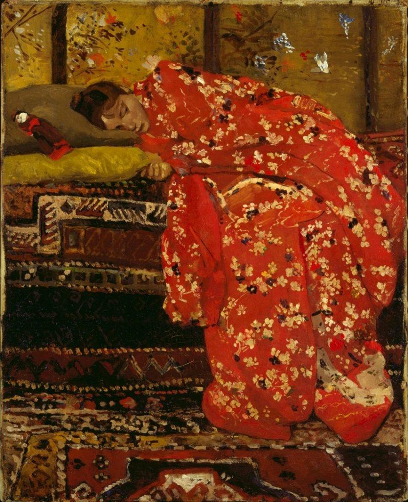 Schilderij van George Hendrik Breitner, Meisje in kimono, 1895, olieverf op doek, uit particuliere collectie nu te zien in Singer Laren in de tentoonstelling Schoonheid te koop, De kunsthandel Frans Buffa en Zonen. In de rondleiding van Artetecetera staan wij uitgebreid stil bij het werk van de Amsterdamse impressionisten.