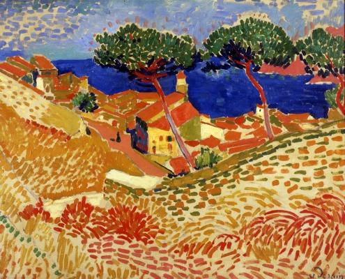 Afbeeldingen een schilderij van André Derain met de titel Coulioure