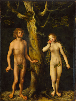 Lucas Cranach Adam en Eva en de appel.