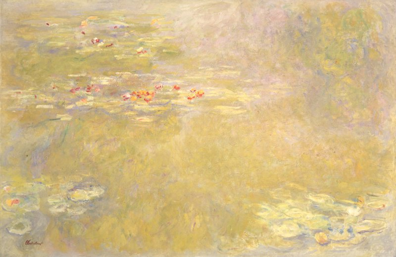 Afbeelding van een schilderij van Claude Monet met waterlelies in het Folkwang Museum, Essen