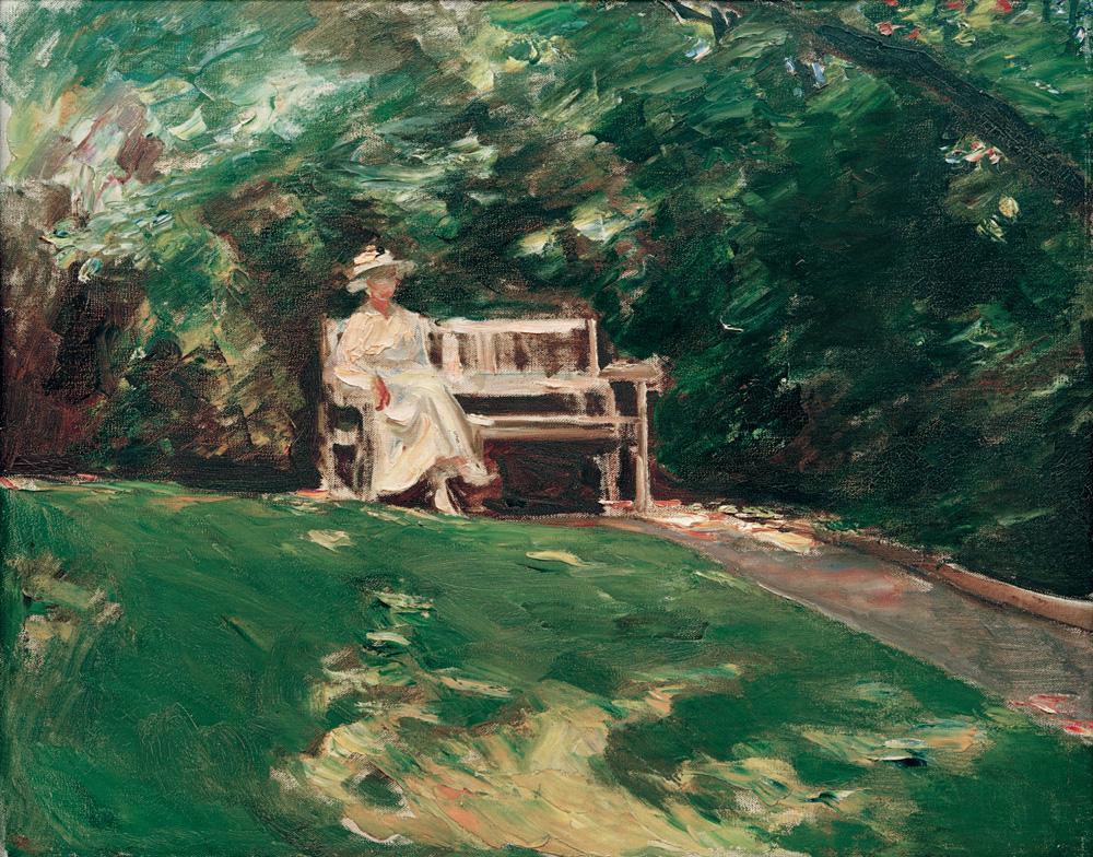 Max Liebermann, De tuinbank (bij de villa van Liebermann), Wannsee, Berlijn (bruikleen van de Alte National Galerie, Berlijn)