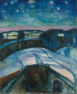 Schilderij van Edward Munch op de tentoonstelling in Amsterdam: sterrenhemel. Dit schilderij komt in de rondleiding door Michiel Kersten op 15 januari natuurlijk ter sprake