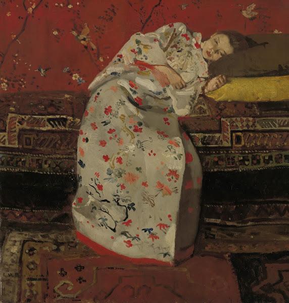 Afbeelding van een schilderij van Breitner met een meisje in kimono dat deeluitmaakt van de tentoonstelling in het Rijksmuseum, vorojaar 2016 en opgenomen is in de rondleiding door Artetcetera